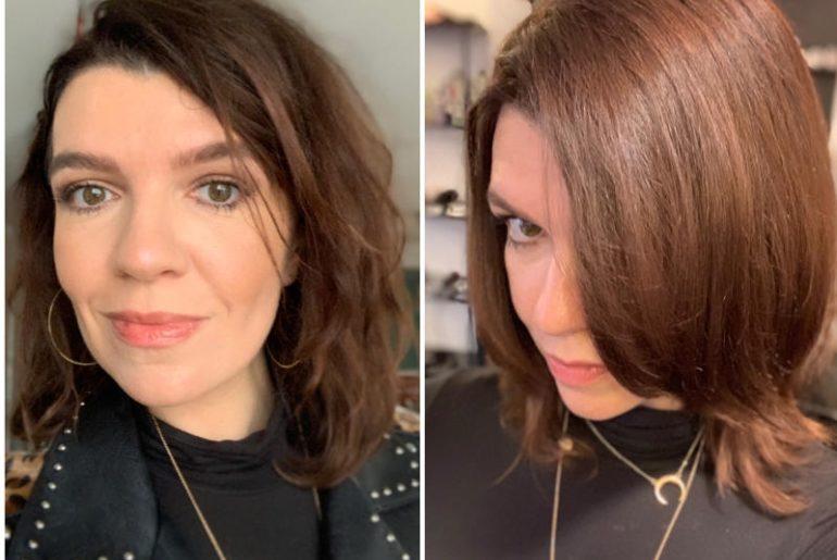 Zabieg regenerujący z keratyną Davines naprawdę działa. Dowód: te dwa zdjęcia zrobione tego samego dnia. Po lewej przed, po prawej po zabiegu z keratyną.